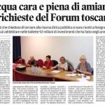 Articolo Il Tirreno su riunione forum acqua Rosignano